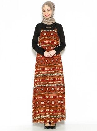 Desenli Elbise - Kahverengi Efz