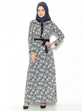 Puantiyeli Elbise - Lacivert Efz