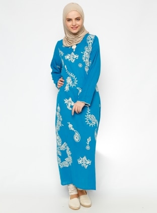 Printed Gauze Dress - Blue - Cikrikci