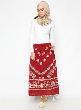 Printed Gauze Skirt - Maroon - Cikrikci