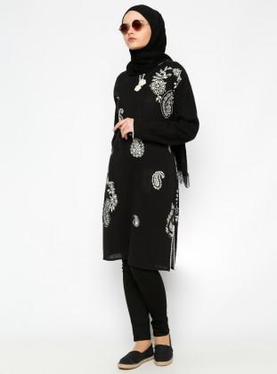 Çıkrıkçı Şile Bezi Baskılı Tunik - Siyah - Çkr