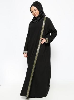 Gilded Gauze Abaya - Black - Cikrikci