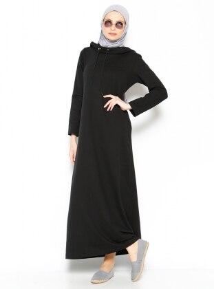 Kapüşonlu Elbise - Siyah
