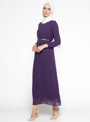 Kemerli Elbise - Mor Belle Belemir