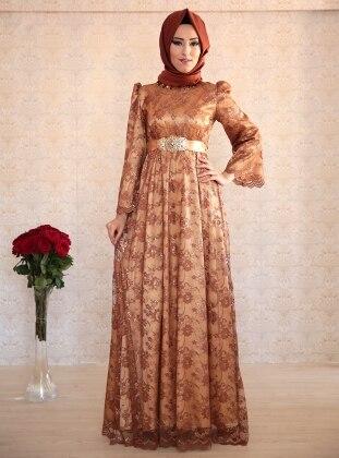 Dilek Etiz Dantel Elbise - Kahverengi