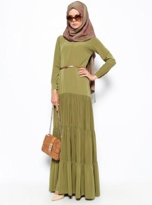Dilek Etiz Gizli Düğme Detaylı Elbise - Yağ Yeşili