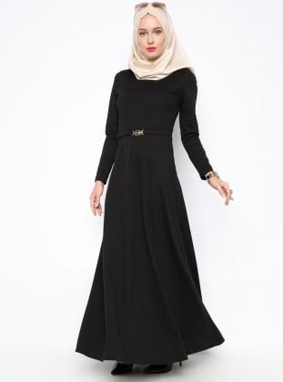 Kemer Süslü Elbise - Siyah