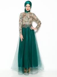 Pul İşlemeli Abiye Elbise -Yeşil - MODAYSA