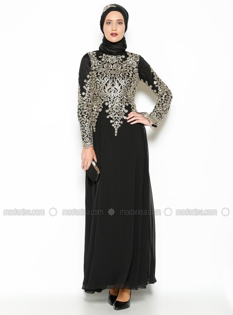 Lace Detail Evening Dress - Black