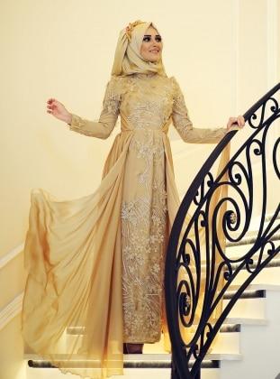 Minel Aşk İpek Abiye Elbise - Gold