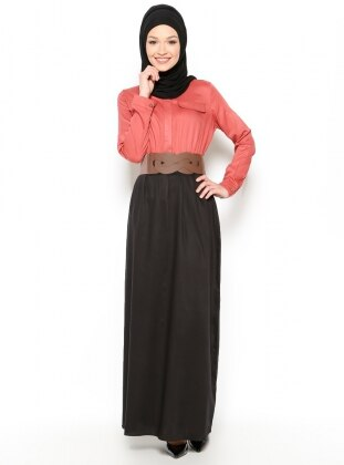 Kemerli Elbise - Vişne -Siyah