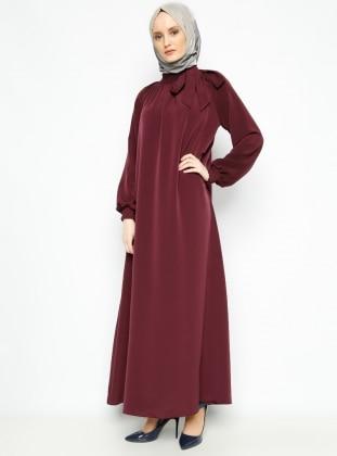 Sabır Tesettür Büzgü Detaylı Elbise - Bordo