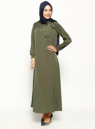 Büzgü Detaylı Elbise - Haki