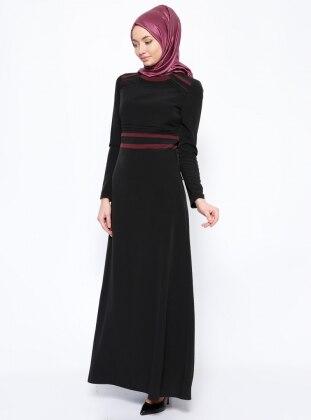 Nervürlü Elbise - Siyah Esswaap