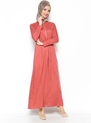 Fermuar Detaylı Elbise - Vişne Çürüğü