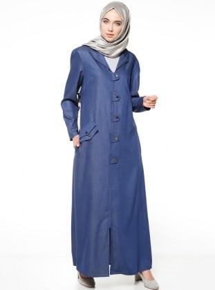 Zippered Overcoat - Blue -  Triko