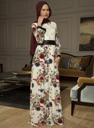 Kimono Abiye Elbise - Çiçekli Azra Özer