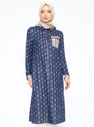 Buttoned Tunic - Navy Blue - Esswaap 207386