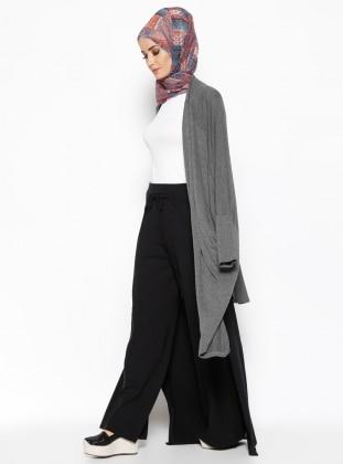 Pelerinli Pantolon Etek - Siyah Casual By Dide