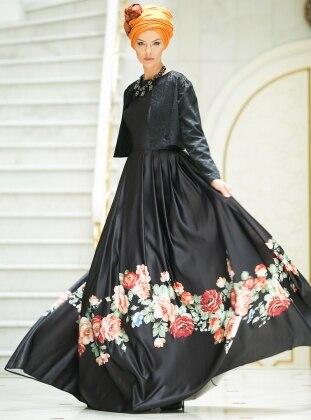 Çiçekli Abiye Elbise - Siyah Dersaadet