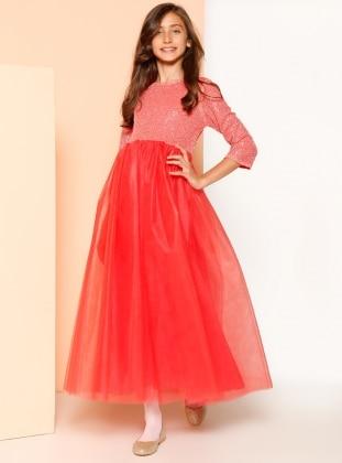 8-12 Yaş Abiye Elbise - Nar Çiçeği Refka Princess