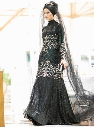 Duvaklı&Payetli Abiye Elbise - Siyah