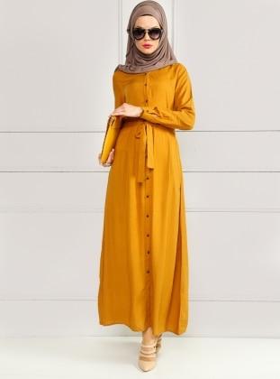 Puantiyeli Elbise - Hardal