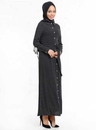 Puantiyeli Elbise - Siyah