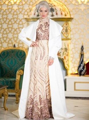 Pul Payet İşlemeli Abiye Elbise - Ekru