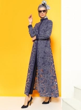 Hidden Button Overcoat - Navy Blue