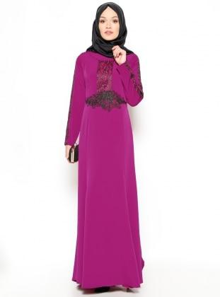 Güpürlü Abiye Elbise - Mürdüm Sevilay Giyim