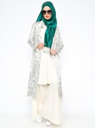 Saten Ceket - Krem Yeşil Meryem Acar