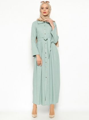 Düğmeli Elbise - Mint