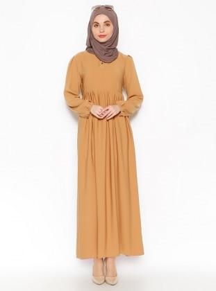 Pile Detaylı Elbise - Hardal Belle Belemir