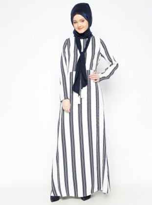 Çizgili Elbise - Lacivert Tuncay