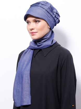 Plain - Cotton - Blue - Denim - Instant Scarf