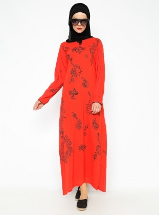 Printed Gauze Dress - Red - Cikrikci