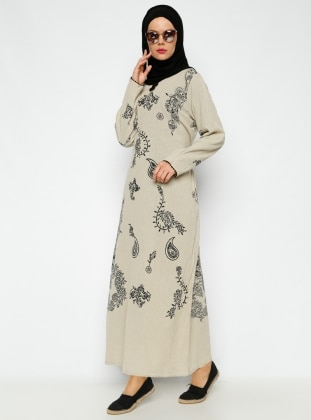 Printed Gauze Dress - Green - Cikrikci