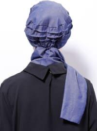 Plain - Cotton - Blue - Denim - Instant Scarf