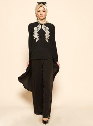 Arkası Uzun Bluz - Siyah Puane
