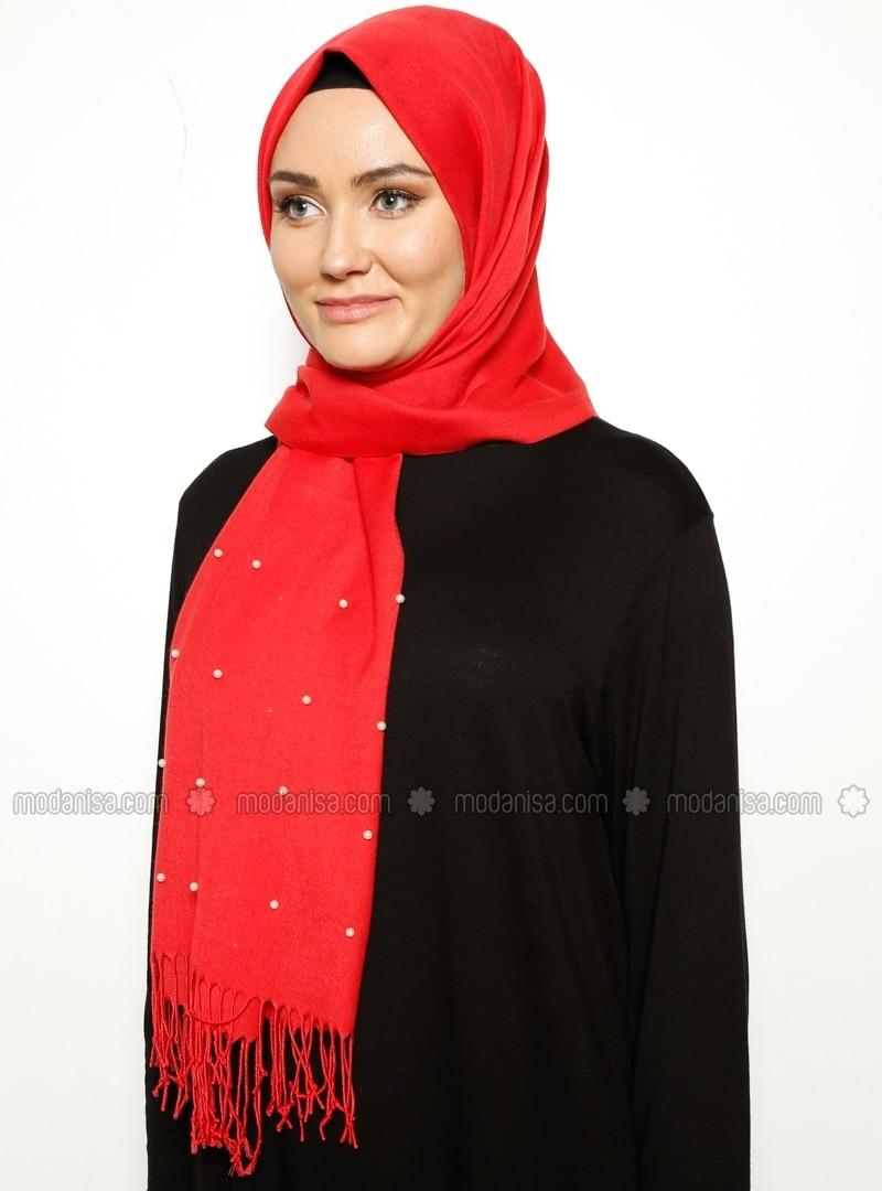 Pashmina - Red - Plain - Fringe - Shawl