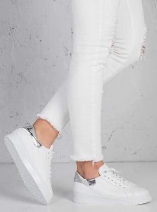 Ayakkabı - Beyaz lame - Zenneshoes Ürün Resmi