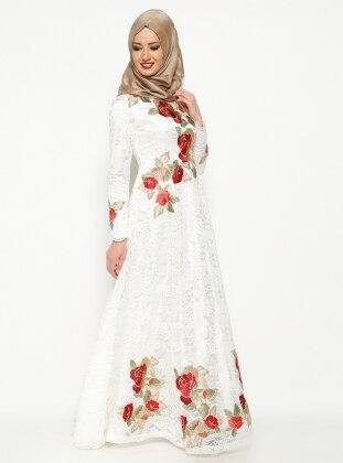 Dantelli Abiye Elbise - Beyaz Mislina
