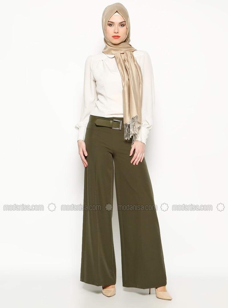 Wide Leg Pants - Khaki