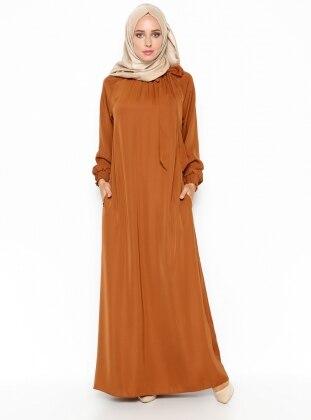 Büzgülü Elbise - Hardal ModaNaz