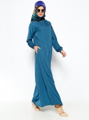 Büzgülü Elbise - Petrol ModaNaz