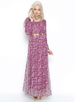 N.K. Collection Dantelli Elbise - Mürdüm
