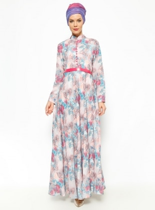 N.K. Collection Desenli Elbise - Fuşya