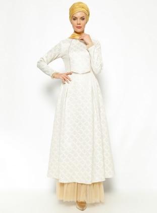 Jakarlı Abiye Elbise - Ekru N.K. Collection