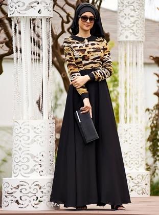 Siyah Etekli Leopar Şifon Elbise